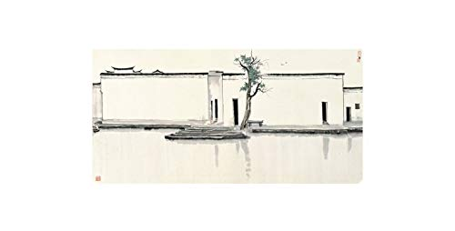 Chinese Ink Landscape Painting HD Prints on Canvas Wall Art Picture for Living Room Home Decor,60x120cm,Burgundy -