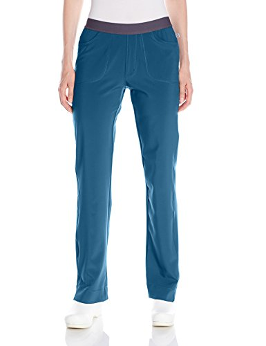 Cherokee Women's Infinity Low Rise Slim Pull-on Pant, Caribbean Blue, - Rise Scrubs Low