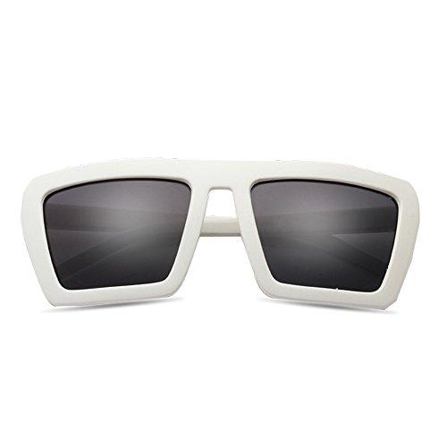Gris Grandes de Gafas Gris de Color Sol Gafas Sunglasses y Gafas Gruesas LVZAIXI Sol Moda qHZFT6w