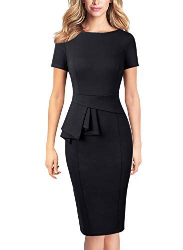 (VFSHOW Womens Black Elegant Peplum Wear to Work Office Knee Length Pencil Dress 2851 BLK XS)