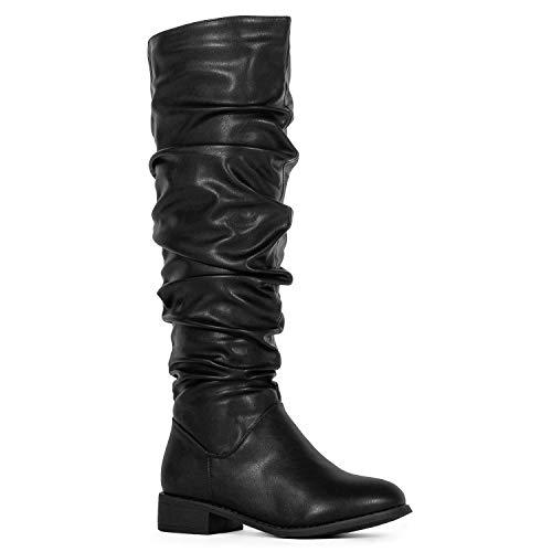 Women's Slouchy Pull On Low Block Heel Knee High Boots (Medium Calf) Black PU (8)