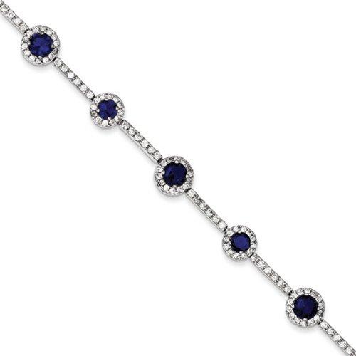 Icecarats Créatrice De Bijoux En Argent Sterling Bleu Et Clair Bracelet Cz De 7 Pouces
