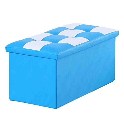 DPPAN Cube Storage Ottoman Stool Bench, Leather Foldable Storage Chest,Multifunction Footrest Seat Foot Rest Stool for Bedroom,Coffee Table,Light Blue_30