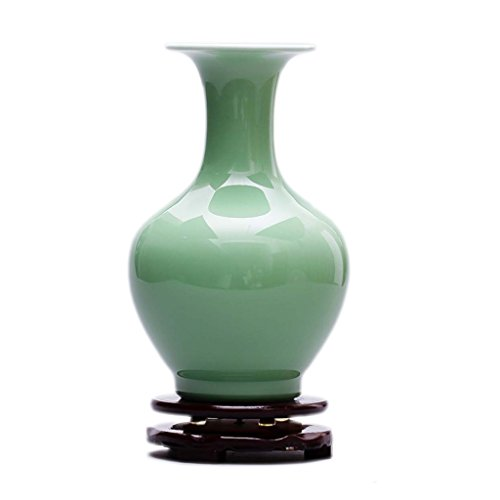 SUNHAI Jingdezhen Ceramics Shadow Celadon Antique Vase Chinese Retro Living Room Entrance Decoration Crafts Ornaments Green (Color : 3)
