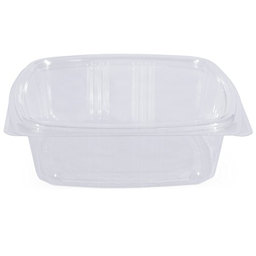 Simply Deliver 48 oz Hinged Lid Deli Container with Complete Air-Tight Seal, Crystal Clear PET, 200-Count