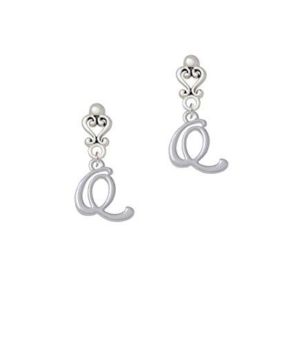 Small Gelato Script Initial - Q - Filigree Heart Earrings