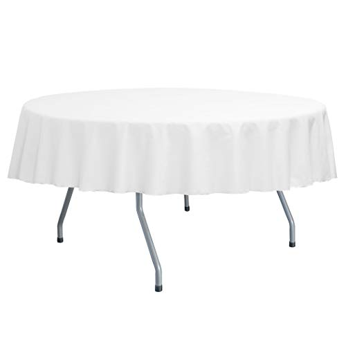 Ultimate Textile Poly-Cotton Twill 60-Inch Round Tablecloth - Fits Tables Smaller Than 60-Inches in Diameter, (White Poly Cotton Cover)