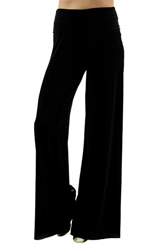 Uptown Apparel Womens Fold Over Waist Wide Leg Palazzo Pants, Good For Tall Curvy Women-Ships From U.S.A. (Large, Black) (Tall Pants)