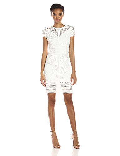 Shelli Segal Stripe - laundry BY SHELLI SEGAL Women's Short Sleeve Mitered Stripe Lace Sheath, Marshmallow, 10