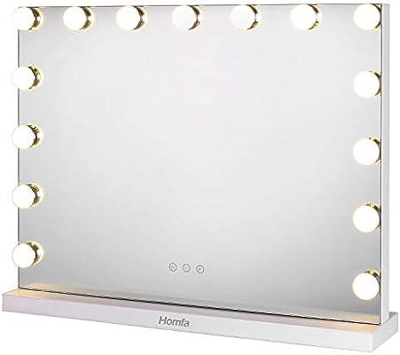 Homfa Hollywood Espejo de Maquillaje Espejo de Mesa 3 Modos de ...