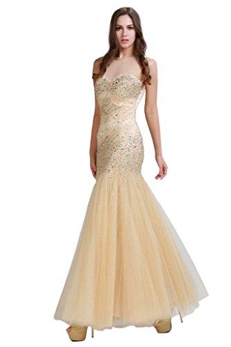 HarveyBridal Crystal Mermaid Tulle Formal Evening Dress Gold