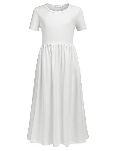 Balasha Girls Short Sleeve Dress Summer Long Maxi Dress with Pockets
