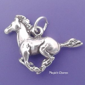 925 Sterling Silver 3-D Galloping Mustang Horse Charm Pendant Jewelry Making Supply, Pendant, Charms, Bracelet, DIY Crafting by Wholesale ()