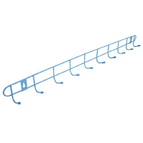 uxcell Metal 10-Hook Rack Towels Clothes Wall Hanger (Blue Wall Bracket)