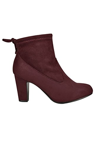 Wide Fit Women's Burgundy Stretch Heeled Ankle Boot With Tie Back In Eee Fit Red
