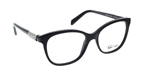 FABIO CIELO (#T115), Italian Eyeglasses 53mm, Elegant Ladies with Diamond elements/ Women RX Prescription Optical Frames Authentic Glasses Includes Case, Made In Italy (Black - Italian Mens Eyeglasses
