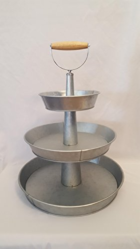 Metal Tier (1 x 3 Tier Galvanized Round Metal Stand Outdoor Indoor Serveware for Fruits and Vegetables)