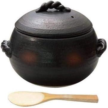 まあるいフォルムのごはん鍋 ごはん鍋 焼締 しゃもじ付 5合 0705-0540 〈簡易梱包