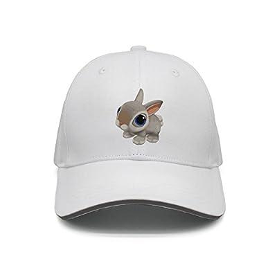 Hey-ifx Twill Sandwich Cap Painting Baby Cartoon Rabbit Snapback Hats Adjustable for Men & Women