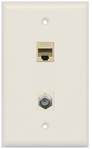 (RiteAV - 1 Port Coax Cable TV- F-Type 1 Port Cat6 Ethernet Wall Plate - Light Almond)