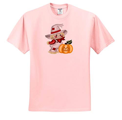 - 3dRose Anne Marie Baugh - Illustrations - Cute Smiling Scarecrow with A Pumpkin Illustration - Light Pink Infant Lap-Shoulder Tee (24M) (ts_317966_73)