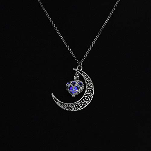 Mikash Stylish Glow in The Dark Moon Heart Charm Pendant Luminous Jewelry Necklace TR95 | Model NCKLCS - 41596 |