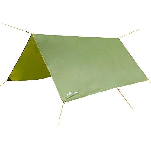 thebluestone rain tarp shelter in 10 x 10 ft for canopy double hammock outdoor camping ripstop rain fly  army green  hammock tarp  amazon    rh   amazon