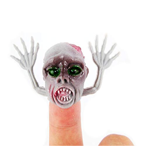Wind Goal 10Pcs Scary Ghost Finger Puppet Set Plastic Finger Toys for Kids Children's Playing Story Halloween Time,Party Favors Toy ,Random Color ()