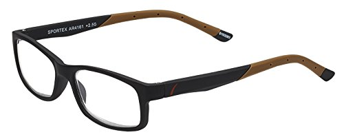 Sportex Readers Men's Plastic Frame Reading Glasses Anti-Glare Brown, 1.25 from Select-A-Vision