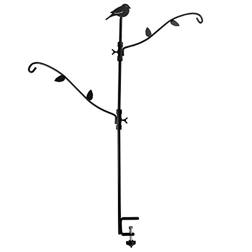 Home-X Multi-Hook Bird Feeder Pole Deck Kit with Two Adjustable (Deck Clamp)