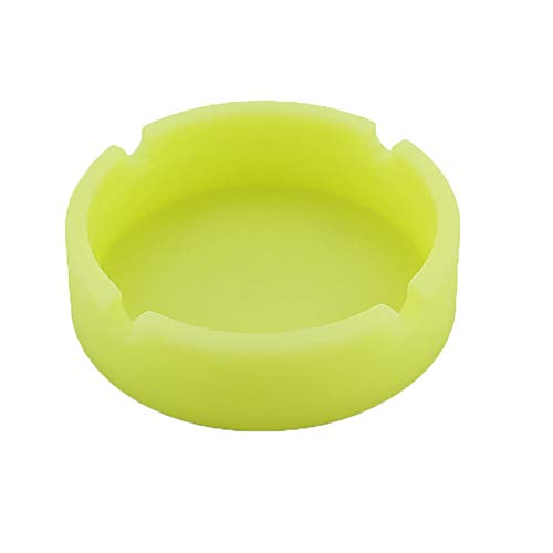 Transer- Luminous Silicone Round Ashtray Resin Eco-Friendly Rubber High Temperature Heat Resistant Cigarette Ash Tray Glow in The Dark for Indoor or Outdoor Use, Home Office Decoration (Green)