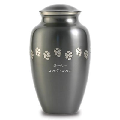 Paw Print Brass Memorial Urn for Pets - Large Grey Cremation Urn for Dogs - Custom Engraving Included