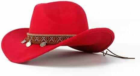 d4b711c8b60613 Western Cowboy Hat for Women Roll-up Wide Brim Elegant Lady Fascinator  Vintage Sombrero Anti