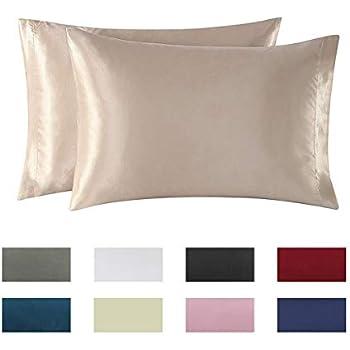 Amazon Com Omelas 2 Pack Standard Silk Satin Pillowcases