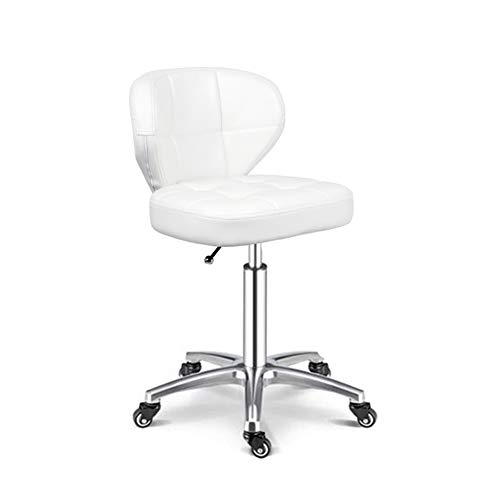 YUWJ Home Office Lounge Chair, Pu Leather Salon Beauty Stool Barstool Mobile Pulley Chair Lift high backrest Ergonomic Adjustable Swivel Chair,White