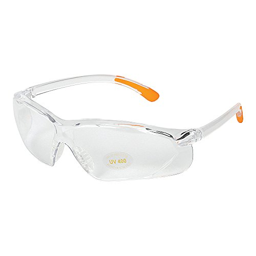 - Allen Factor Shooting Glasses, Clear Frame with Orange Tips, Clear Lens