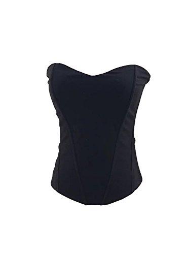Amy Babe Women's Retro Solid Zipper Back Cincher Bustier Corset Shapewear Tank Black ()