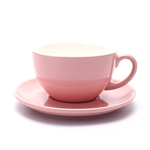 Cup and Saucer, Latte & Cappuccino New Bone China, Mate for Coffee Shop and Barista (Glossy Pink, 10.5 oz) ()