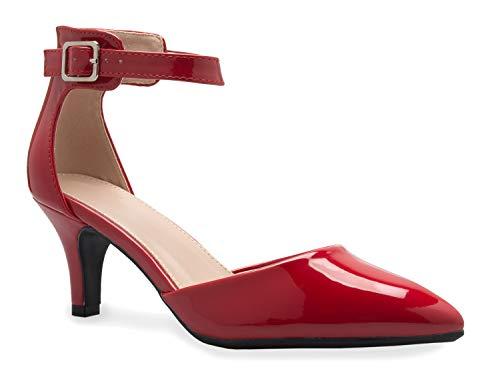 (OLIVIA K Women's Peep Toe Sandal - Low Stacked Heel - Open Toe Ankle Heel Cutout Velcro Enclosure, Blue, 7.5 B(M) US)