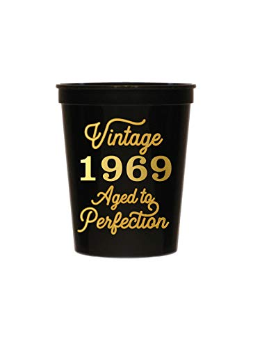 (Vintage 1969 Black Cups - Set of 10-50th Birthday Plastic Cups - 50th Birthday Party Stadium Cups - 50th Birthday Decorations Black and Gold )