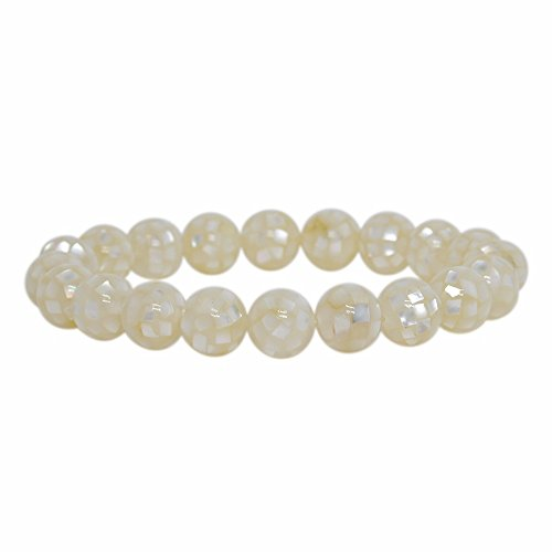 (Justinstones Natural Mosaic Mother of Pearl Shell Gemstone 10mm Round Beads Stretch Bracelet 7 Inch Unisex)