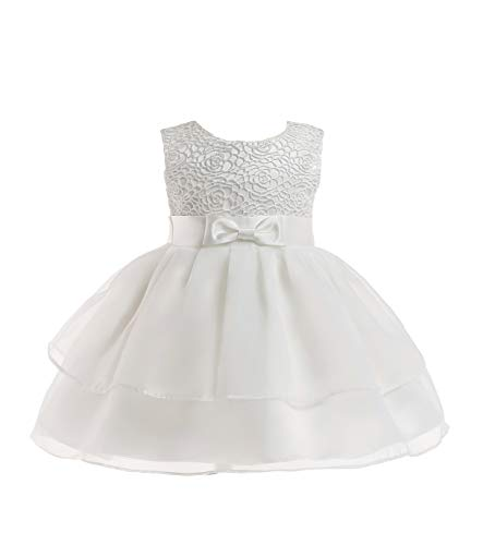 Layered Dresses for Juniors Girl Dress Baby Kids Newborn Christening Flower Lace Party Birthday Wedding Infant Ruffles Tulle Tutu Ball Gown Size 6-12 Months Bridal Special Occasion Tops (White M)