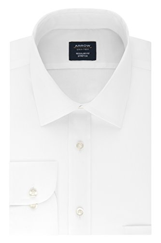 Arrow Men's Dress Shirt Regular Fit Stretch Poplin Solid, White, 18-18.5