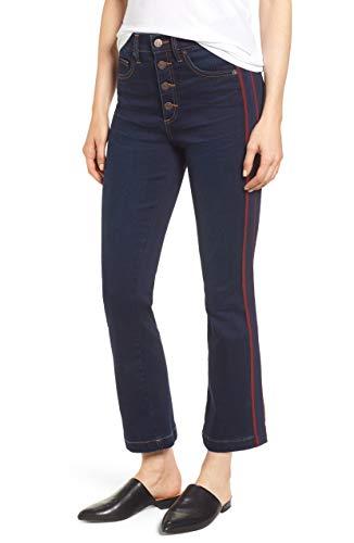 1.State Women's High Rise Ribbon Stripe Kick Flare Button Fly Jeans Dark Rinse Wash 27