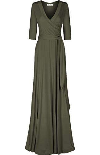 Bon Rosy Women's MadeInUSA 3/4 Sleeve Deep V-Neck Maxi Faux Wrap Solid Plus Size Dress Summer Wedding Guest Party Bridal Baby Shower Maternity Nursing Olive 1X