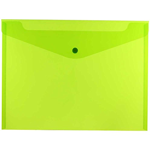 JAM PAPER Plastic Envelopes with Snap Closure - Letter Booklet - 9 3/4 x 13 - Lime Green - 12/Pack