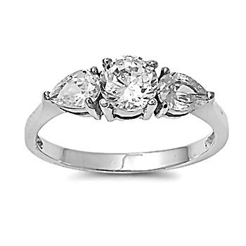 Colette: 1.72ct Brilliant-cut Russian Ice on Fire CZ 3 Stone Engagement Ring 316 Steel, 0838 sz 5.0 ()