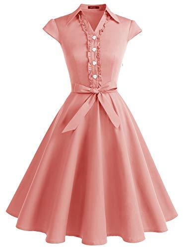 (Wedtrend Women's 1950s Retro Rockabilly Dress Cap Sleeve Vintage Swing Dress WTP10007Blush2XL)