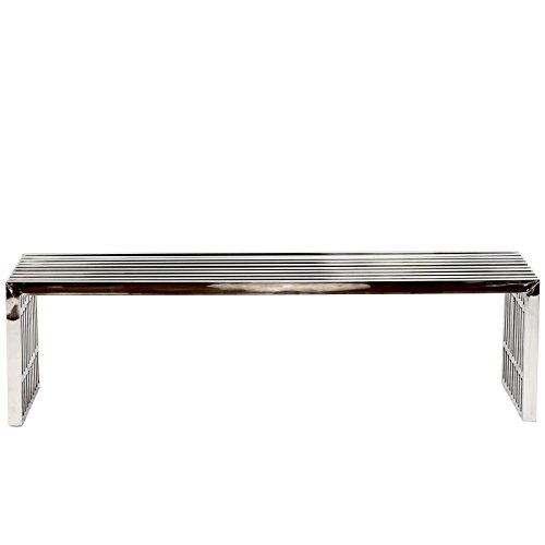 Modway Gridiron Contemporary Modern Large Stainless Steel Bench by Modway (Image #2)'