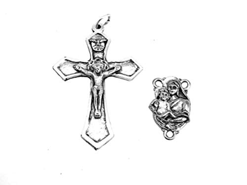 PlanetZia Beautiful Crucifix and Mary with Baby Jesus Center for Rosary Making TVT-L781